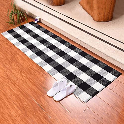 YWLINK Karierter Teppiche Modern Restaurant Wohnzimmer Schlafzimmer Teppiche FußMatte Geflochtene KüChenmatte Teppiche für Küche LäUfer Teppiche Flur
