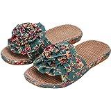 Hausschuhe Damen Rutschfeste Pantoffeln Pantoletten Leinen Atmungsaktive Slippers Slides Bunt Blumen Schlappen Sommer Gartens