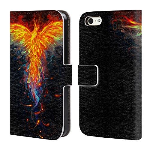 Ufficiale Christos Karapanos Blu Royal Fenice 2 Cover a portafoglio in pelle per Apple iPhone 5 / 5s / SE Uccello 3