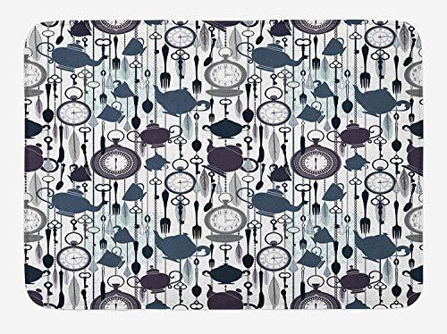 ZKHTO Tea Party Bath Mat, Antique Crockery Elements Clocks Feathers English Victorian Tradition, Plush Bathroom Decor Mat with Non Slip Backing, 23.6 W X 15.7 W Inches, Slate Blue Plum Black -