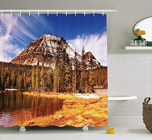 Jolly2T Americana Landscape Decor Shower Curtain by, Countryside in Fall Rocky Cliffs by Creek Pine Grassland Natural Park, Fabric Bathroom Decor Set with Hooks, 60 x 72 Inches, Multi Creek-snap