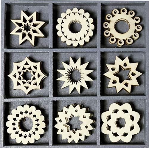 Knorr Prandell 2118521017 Holzornamentbox, Motiv runde Ornamente, Sterne