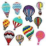 LEUYUAN Aufnäher zum Aufbügeln Bestickt Motiv-Applikation(11 Stücke Heißluftballon), Verschiedene Größen, Dekoration, zum Aufnähen von Jeans, Jacken, Kleidung, Handtasche, Schuhe, Mützen
