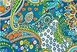 Ramdev Handarbeit aus 100% reiner Baumwolle, blauer Hintergrund/Grundblau, Orange und Gelb, Paisleymuster und Blätter, bedruckt, 111,8 cm breit, von Ramdev Handarbeit