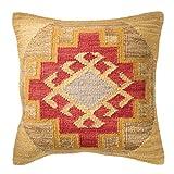 Kohra Kilim Kissenbezug Fair Trade handgefertigt 80% Wolle 20% Baumwolle 2Größen und 2Farben, natur, 45x45