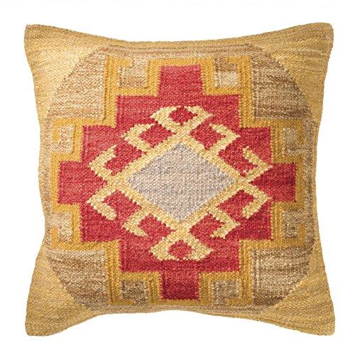 Kohra Kilim Kissenbezug Fair Trade handgefertigt 80% Wolle 20% Baumwolle 2Größen und 2Farben, natur, 45x45 -