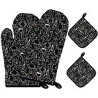 Netspower - Guantes para horno, manoplas de horno, 4 unidades, tamaño universal, guantes para barbacoa, chimenea, manoplas para hornear con manopla para hornear, color negro