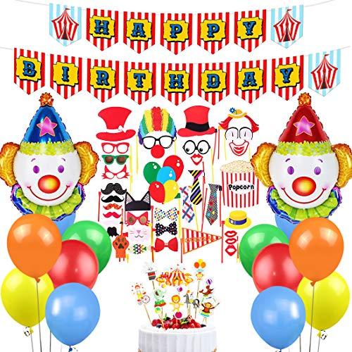 Geburtstagsfeier Dekorationen Lieferungen Zirkus Party Decor Unisex für Jungen Mädchen Geburtstag mit Happy Birthday Banner und Cupcake Topper ()