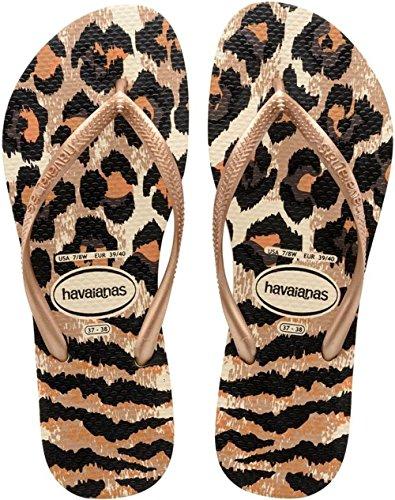 Havaianas Slim Animals, Women's Sandals, Beige (Beige/Rose Gold 8430), 5 UK (39/40 EU) (37/38 BR)