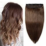 8A Extension à Clip Cheveux Naturel Monobande Epais [1 Pièce 5 Clips] [ 40CM ][Bordure Invisible] Touche Soyeuse Bien Garnit 100% Remy Hair Gluless Longs & Droits [ Marron Moyen ]