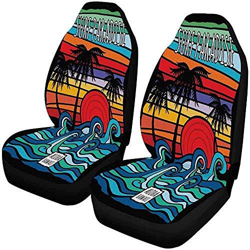 2Pcs Sitzbezug Seatcover Hawaii Aloha Wave Graphic Vordersitzbezüge,Autositzbezüge Vordersitze Nur Universal Fit