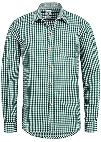 Trachtenhemd kariert in 6 verschiedenen Farben - Slimline - Krempelärmel (L, Tanne - Grün)