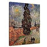 Bilderdepot24 Kunstdruck - Alte Meister - Vincent Van Gogh - Zypressenweg Unter Dem Sternenhimmel - 30x40cm Einteilig - Leinwandbilder - Bilder als Leinwanddruck - Bild auf Leinwand - Wandbild