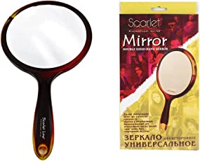 Ear Lobe & Accessories Scarlet Line Double Sided Hand Mirror Small