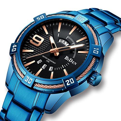 Herren Uhren Blaue Männer Edelstahl Wasserdicht Leuchtende Uhr Große Gesicht Tag Datum Kalender Analog Quarz Gent Uhren Geschäft Mode Luxus Kleid Armbanduhren für Männer