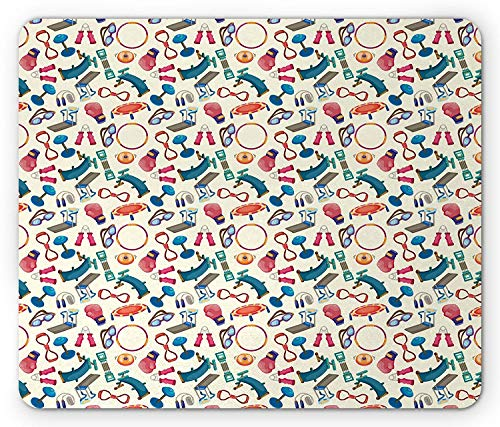 WYICPLO Fitness Mouse Pad, Cartoon Style Gym Equipment Set Activity Exercise Burning Calories Losing Weight, Standard Size Rectangle Non-Slip Rubber Mousepad, Multicolor