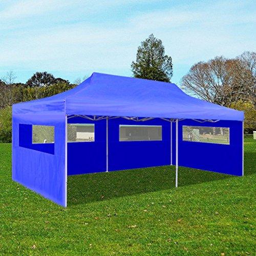 Hobbyesport tenda gazebo per feste pop-up pieghevole 3 x 6 m blu richiudibile e trasportabile