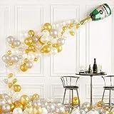 Micacorn Champagne Ghirlanda Palloncino 42 Arco Palloncini Bianca e Oro Confetti Foglio Champagne Palloncini Lattice Riempito