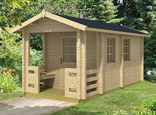 Gartenhaus Sauna OSKARI 70 ISO Blockhaus 234x500cm 70mm Blockhaus Holzhaus