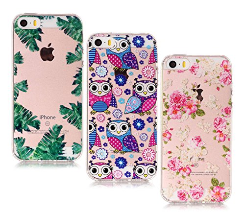 [ 3 Pack ] iPhone 5S / SE Hülle, BENKER Kreativ Anti-Kratz Nicht Verblassen 3D Relief Malerei TPU Silikon Telefon Fall - Paket 3 Paket 4