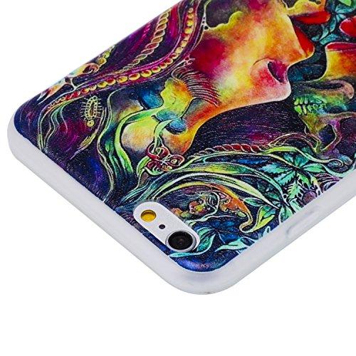 Ecoway Apple iPhone 6/6S(4.7 Zoll) Case Cover, TPU Gommage en relief Soft Motif de placage en couleur personalized pattern Housse en silicone Housse de protection Housse pour téléphone portable pour A BAISER