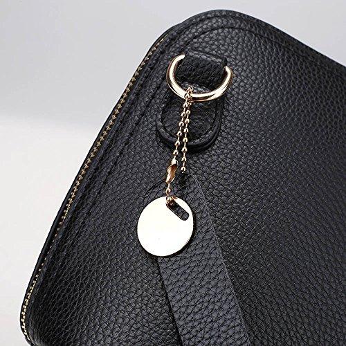 Longra Donna Retro doppio diagonale borsa Zipper Nero