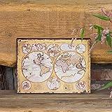Antikas - Nostalgisch Dekoratives Blechschild, Weltdarstellung um 1690, le Globe
