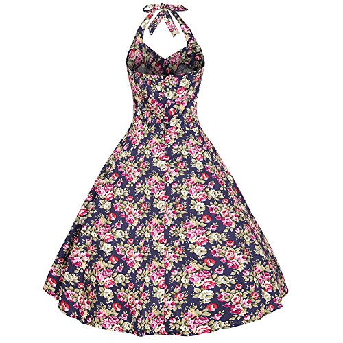 Moollyfox Femme Robe de Bal Floral Vintage 1950S Pin-up à 'Audrey Hepburn' Classique Style Halter Robe Dos Nu Marine Rose