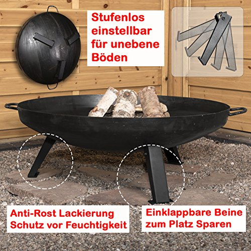 *Köhko Feuerschale Ø 79 cm – Beine anti-Rost lackiert – klappbare und abnehmbare Beine 41005*