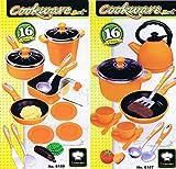 Haberkorn 32 TLG Mega Kochtopf Set für Spielküche Pfannen Töpfe Teeservice UVM orange