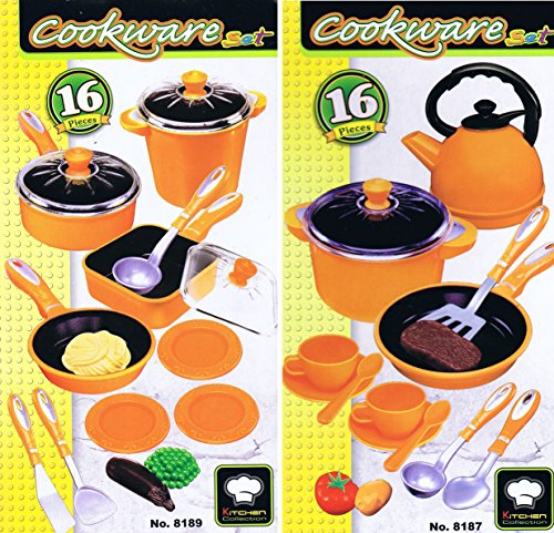 32 tlg Mega Kochtopf Set für Spielküche Pfannen Töpfe Teeservice uvm orange