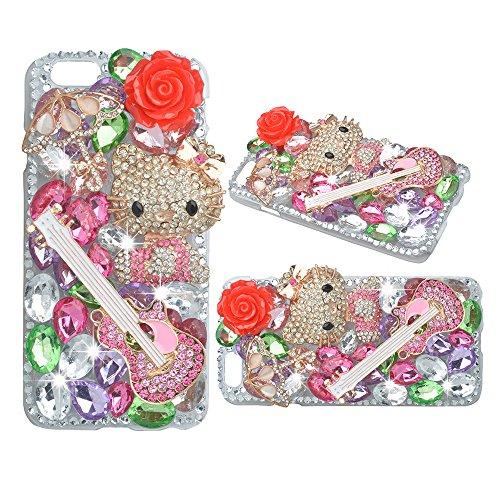 Evtech (tm) Kitty, motivo floreale, colore: rosso Con Petalo Fiore, colore: oro, motivo: strass in cristallo, rigida, con Glitter-Custodia per iPhone 4S, 100% realizzato a mano) - Kitty Lily