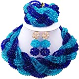laanc Nigerianisches Hochzeit Custom Halskette Ohrringe Armband African Schmuck Braut Schmuck Set Royal Blue and Lake Blue