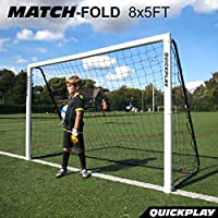 QUICKPLAY PRO Match-Fold Portable Football Goal Range with Carry Bag [Single Goal] Quick setup folding football goal for clubs, coaches & the best home football goal on the market - NEW SIZES FOR 2018