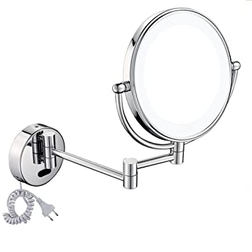 Meydlee Foldable Round Wall Mount Bathroom Rotating Mirror Two Sided Touch Switch LED Lighted 3X Magnifying Makeup No Fog Shower With