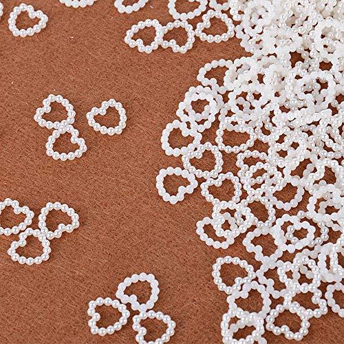 Serwoo 1000pz 11 * 11mm perline cuore avorio acrilico imitazione perla confetti decorazione artigianaro scrapbooking fai da te per regalo matrimonio battesimo compleanno