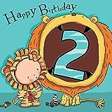 Twizler Karte zum Zweiten Geburtstag für Jungen, mit Löwe - Zwei Jahre alt - Alter 2 - Kindergeburtstag - Jungen-Geburtstagskarte