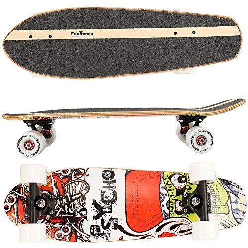 FunTomia Midi-Board Cruiser Skateboard 65cm aus 7-lagigem kanadischem Ahornholz / oder 5-lagen kanadischem Ahornholz und 2-lagen Bambusholz inkl. ABEC-11 MACH1 Kugellager - mit oder ohne LED Rollen (Psycho / mit weißen Rollen (ohne LED) / aus Ahorn und Bambusholz)