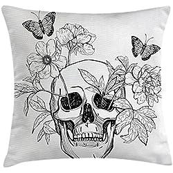 Funda de cojín con diseño de calavera con flores y mariposas, diseño vintage gótico, decoración cuadrada, 45,7 x 45,7 cm, color negro y blanco