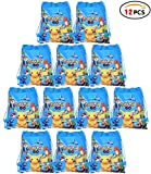 Qemsele Borse Festa per Bambini, 12 PCS Borse Sacca Zaino con Coulisse Sacchettini del per Bambini Tema Riutilizzabile Festa di Compleanno Bambini bomboniare Borsa Sacchetto Festa (Pikachu)