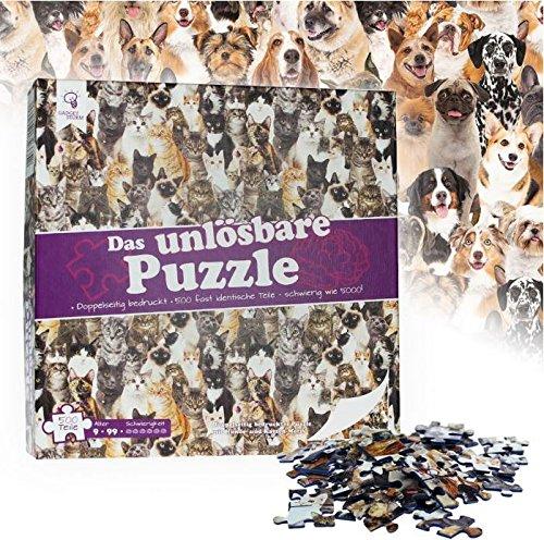 �� Motiv: Hunde und Katzen – 500 fast identische Teile – Geeignet ab 9 Jahren – Scherzartikel – Knobelspiel – fast unmöglich zu lösen - Lustige Geschenk-Idee für Erwachsene und Kinder zu Weihnachten (Weihnachts-ideen Für Erwachsene)