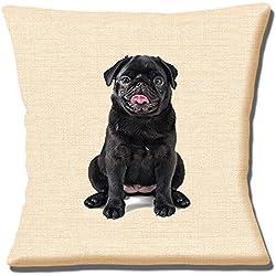 """Impresión fotográfica de perro negro de CARLINO en beige Textura–16""""(40cm) almohada cojín"""
