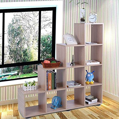 Zerone Ablage, DIY Bücherregal Display Speicher Regal 10Raster Holz Cube Stauraum Treppe Regal freistehend Regal für Wohnzimmer Oder Büro 114x 30x 116cm (Bücherregal Cube Speicher)