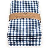 FILU Geschirrtücher 6er Pack Halbleinen (Leinen/Baumwolle) blau/weiß kariert 45 x 70 cm (Farbe und Design wählbar); hochwertig durchgefärbte Geschirrhandtücher im skandinavischen Landhausstil
