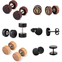 6 Paia 1.2mm Sono Orecchini in Legno Set 8mm Fake Mens Orecchini Donna Fake Tunnel Plug Cheater Illusion Tree of Life…