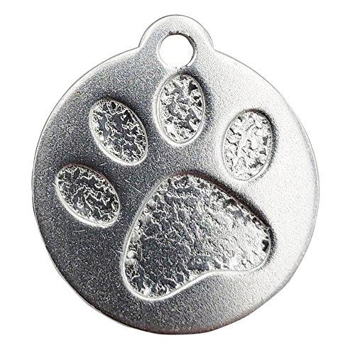 2 Stück Hundemarke - Motiv Pfote - Verschiedene Farben mit Schlüsselring (Silber)