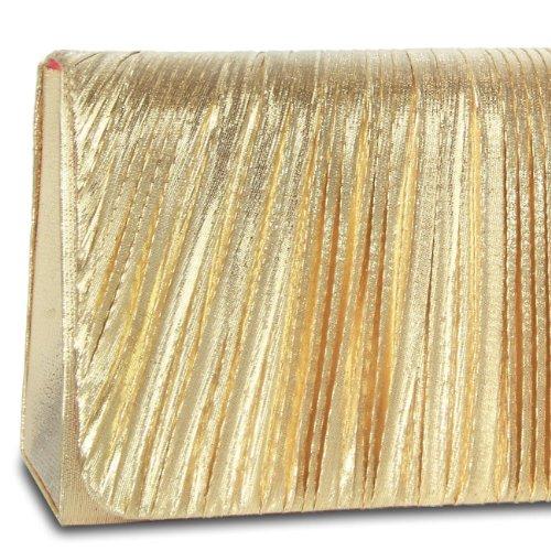 Elegante Borsa Da Sera / Pochette Da Donna Caspar Con Tomaia Rialzata Nobile E Catena Aggiuntiva - Molti Colori - Oro Ta318