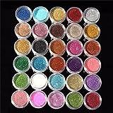 Western World Glitter 30Pcs Nail Art laser Glitter Sparkling Powder Dust Multicolor Glitter Nail Art Decoration(Pack of 30)