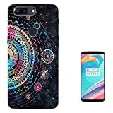002749 - Colourful Galaxy Stars Henna Aztec Pattern Design OnePlus 5T Fashion Trend Case Gel Rubber Silicone All Edges Protection Case Cover