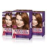 Keratin-Coloración permanente para el cabello, tono 7.65 (pack de 3)